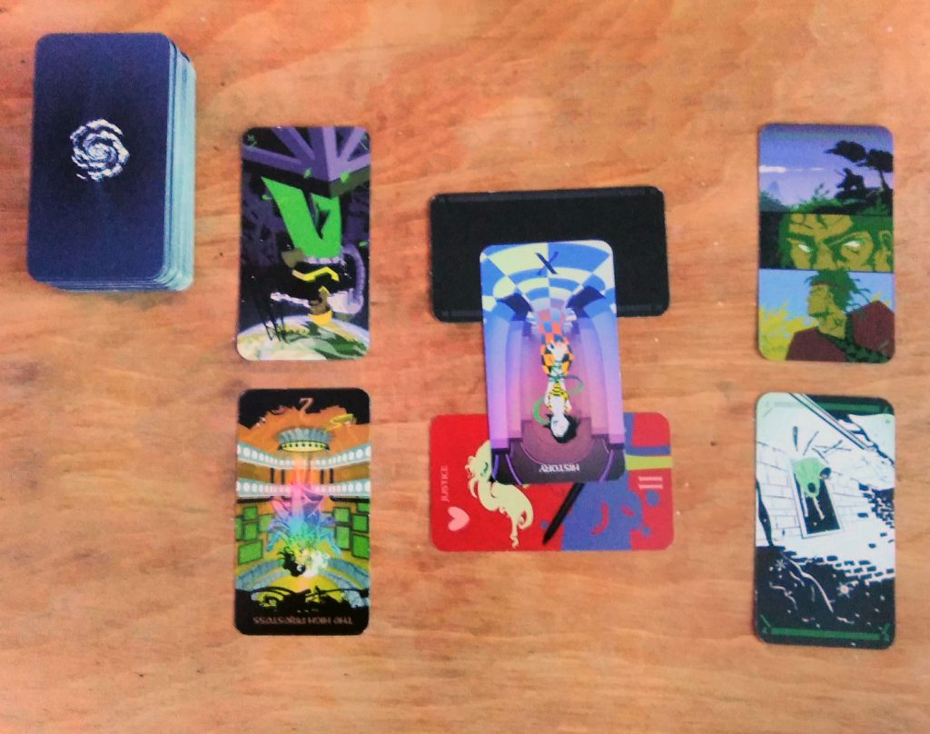A picture of the tarot spread